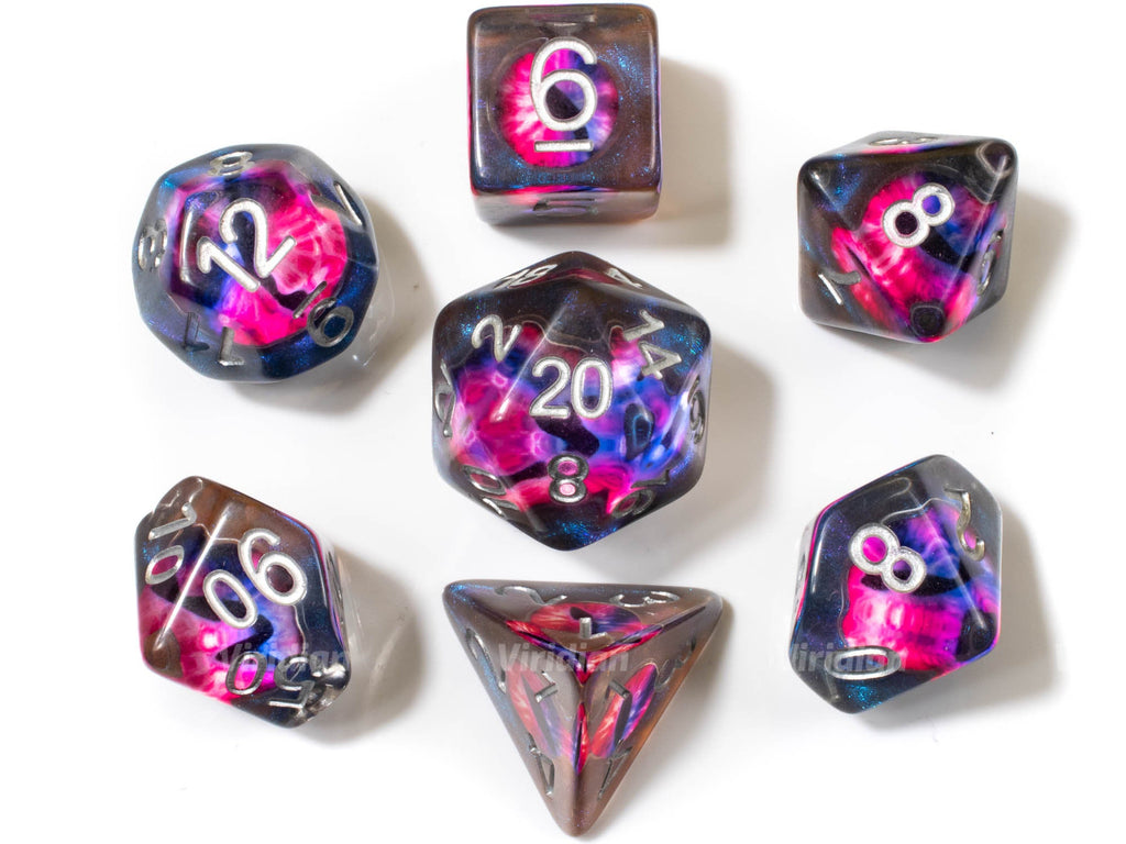 Scrying Eye | Pink and Blue Demonic Eye, Brown Translucent Resin Dice Set (7)