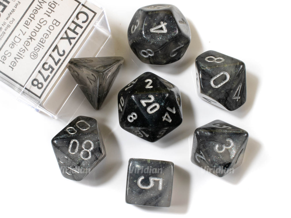 Borealis Smoke & Silver Luminary | Chessex Dice Set (7)
