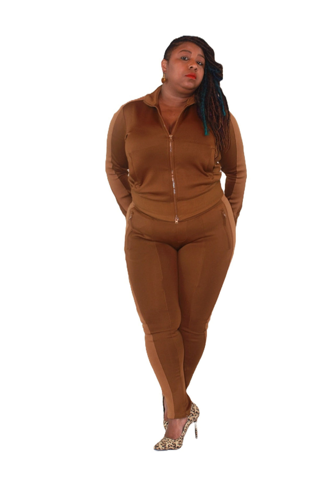Brown Two Tone 2 Piece Track Jogger Set