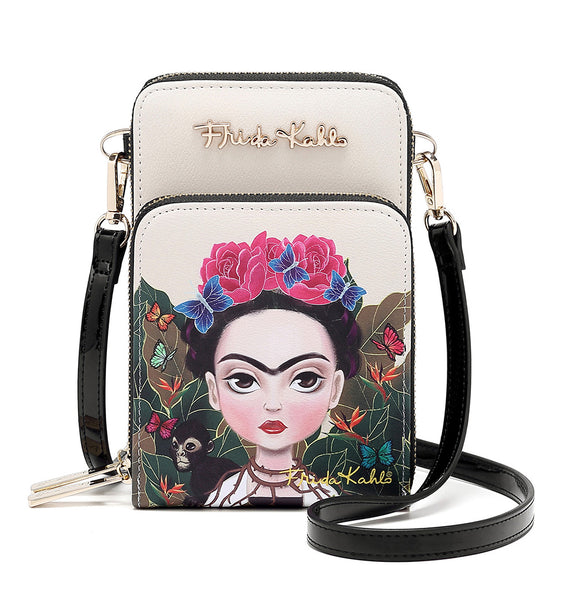 Frida Kahlo Cartoon Collection Cellphone Cross Body Bag with Wrislet (Beige)