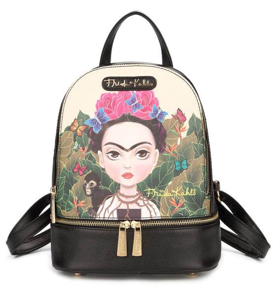 Frida Kahlo Cartoon Collection Cute Backpack (Black)