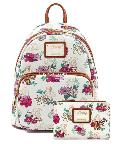 Loungefly Disney Princess Floral Mini Backpack and Wallet Set