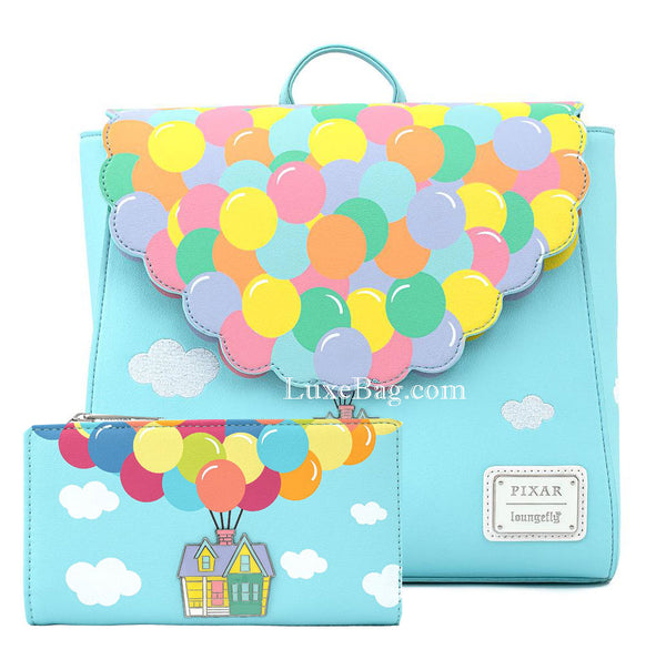 Loungefly Disney Up Balloon House Flap Backpack and Wallet Set
