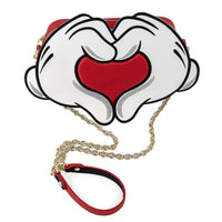 Loungefly Disney Mickey and Minnie Mouse Heart Crossbody Bag