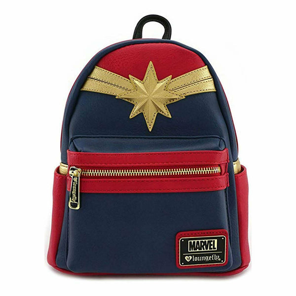 Loungefly Captain Marvel Red Suit Faux Leather Mini Backpack