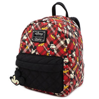 Loungefly Disney Mickey Mouse Red Plaid Faux Leather Mini Backpack