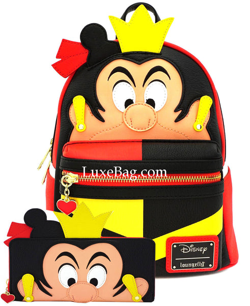 Loungefly Disney Queen of Hearts Mini Backpack Wallet Set