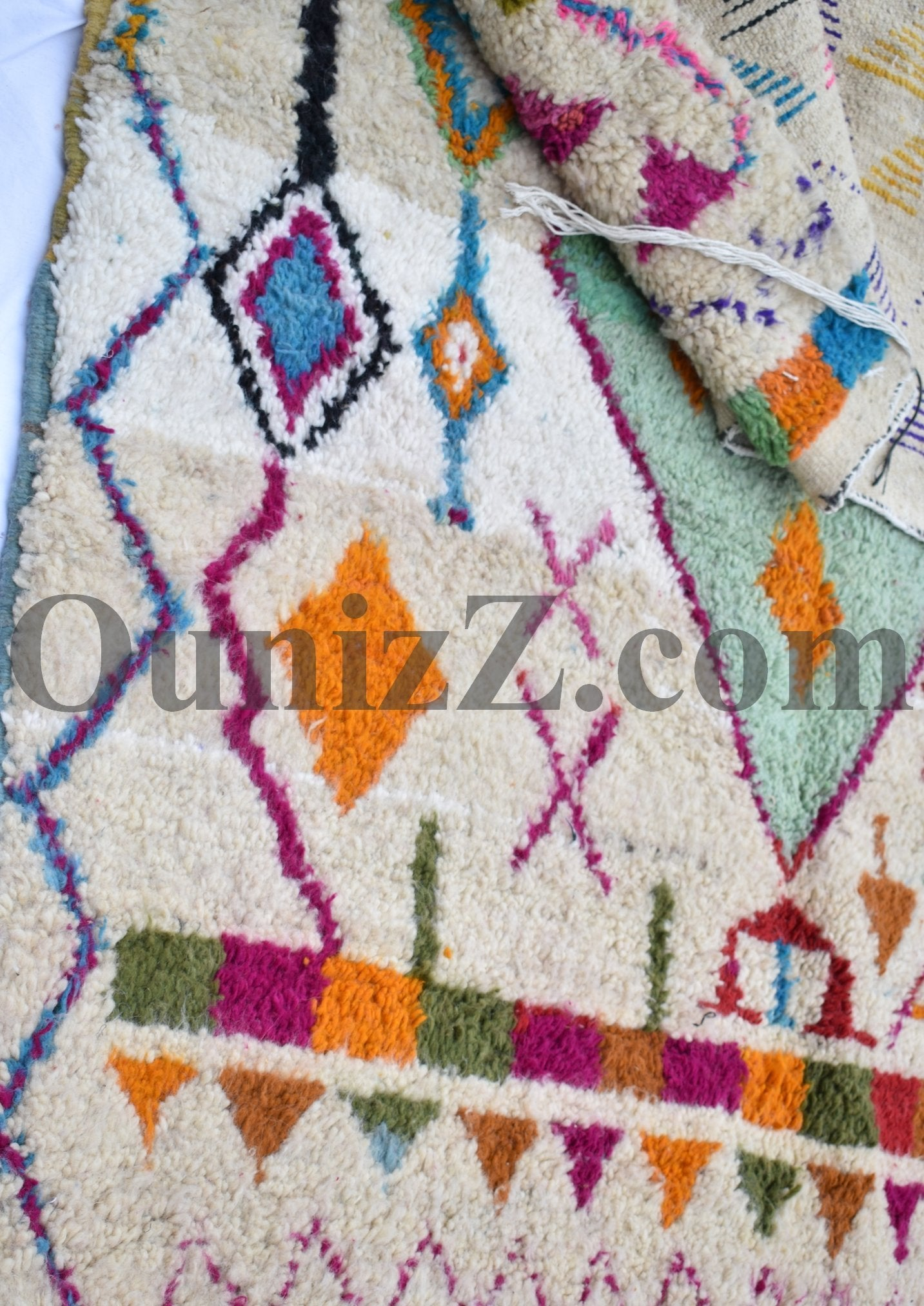 IMI | Azilal White Rug | 100% wool handmade in Morocco - OunizZ