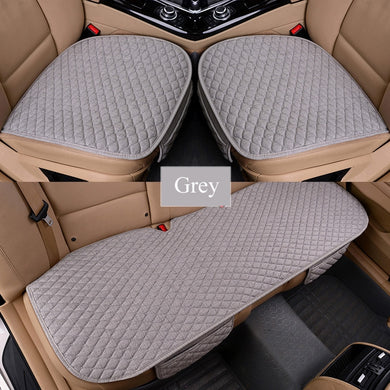 Flax Car Seat Covers Front/Rear/ Full Set Choose Car Seat Cushion Linen Fabric Seat Pad Protector Car Accessories Anti-slip