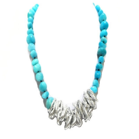 Turquoise Necklace with Silver Links