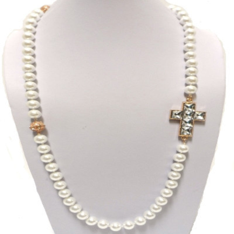 Long Crystal Cross Pearl Necklace