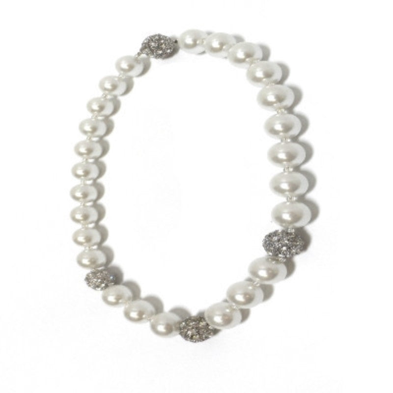 Pearl Necklace with Pave Crystals