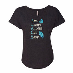 BEACH (Best Escape Anyone Can Have) Glitter Shirt