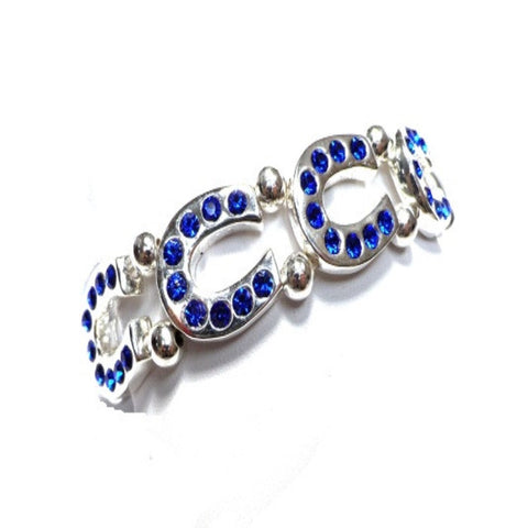 Blue Crystal Horseshoe Stretch Bracelet