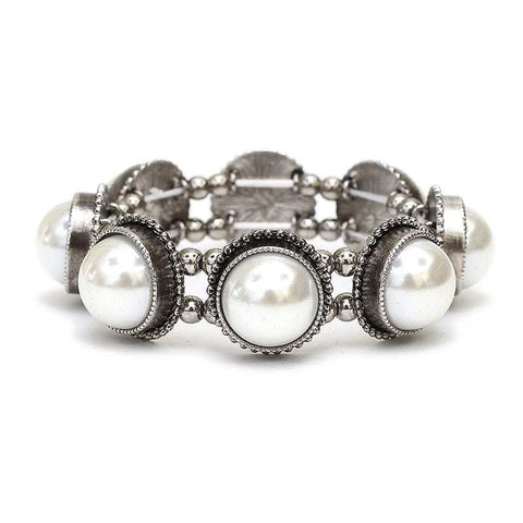 Large Round Pearl Stretch Bracelet