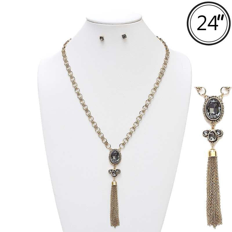 Gold Link Chain with Crystal Oval & Tassel Necklace