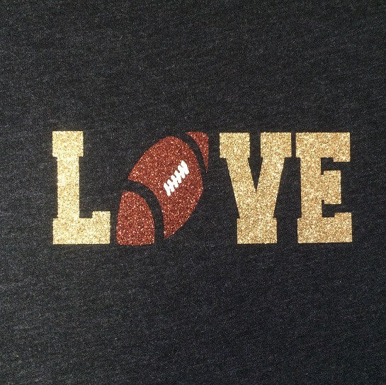 "Football ""LOVE"" Shirt (Gold Glitter)"