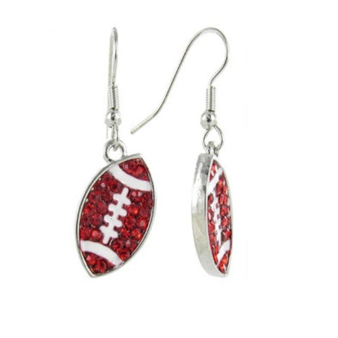 Flat Crystal Football Earrings