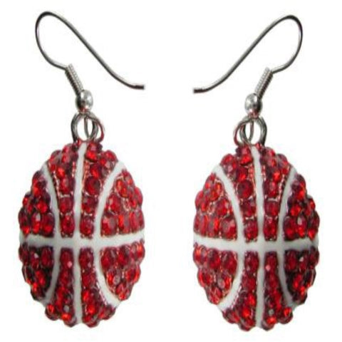 Large Crystal Basketball Earrings