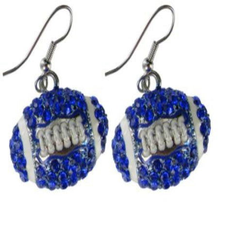Large Puffy Crystal Football Earrings