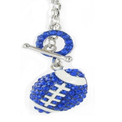 Large Toggle Crystal Football Necklace