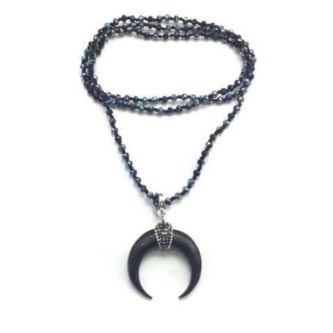 Black Long Beaded Horn Necklace