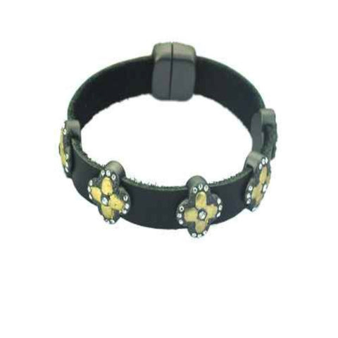 Magnetic Leather Clover Bracelet