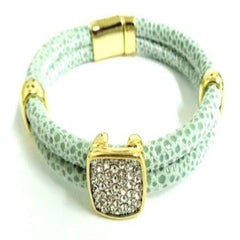 Leather Bracelet with Pave Square