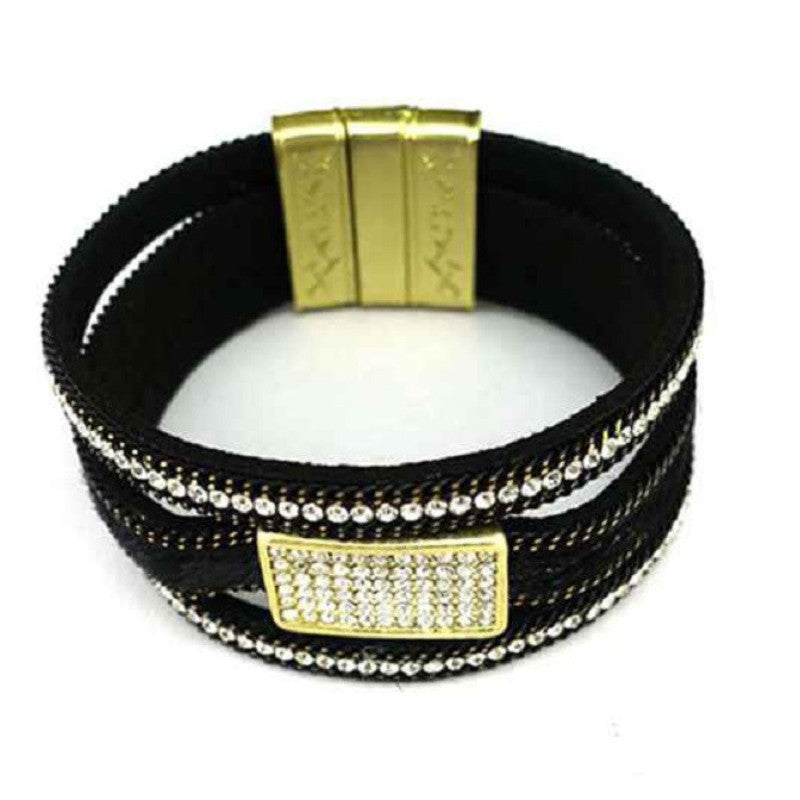 Leather Pave Rectangle Magnetic Bracelet