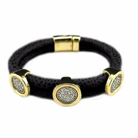 Leather Coin Magnetic Bracelet