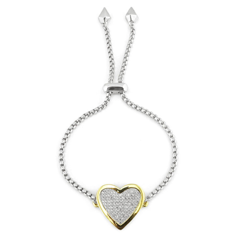 Pave Crystal Heart Chain Bracelet