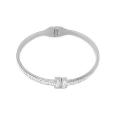 Stainless Steel Crystal Hinge Bangle