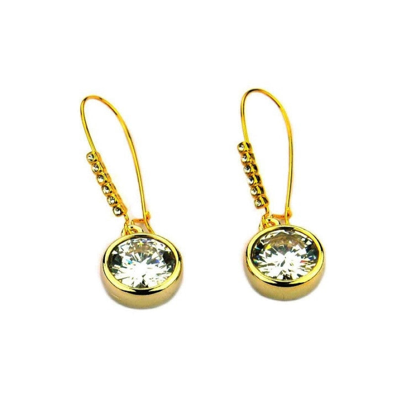CZ Drop Wire Earrings