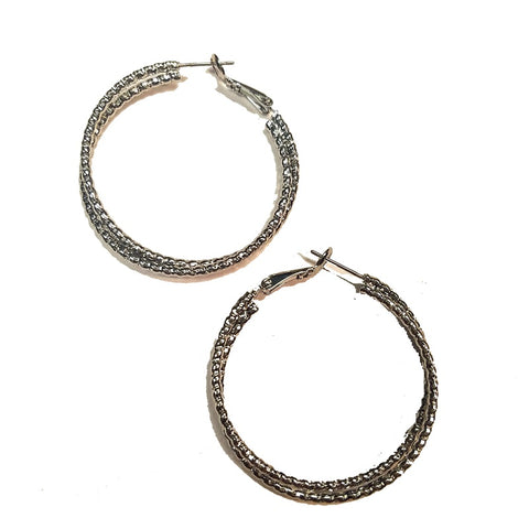 Double Diamond Cut Hoop Earrings