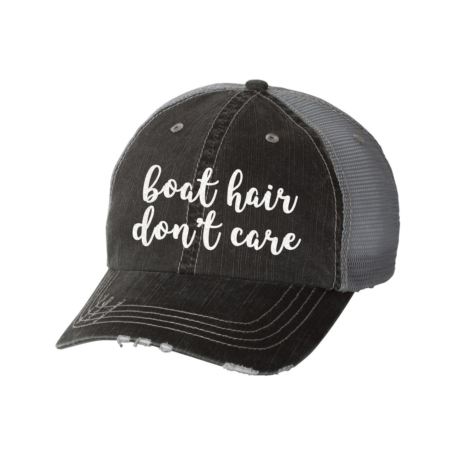 Boat Hair Don't Care Distressed Ladies Trucker Hat