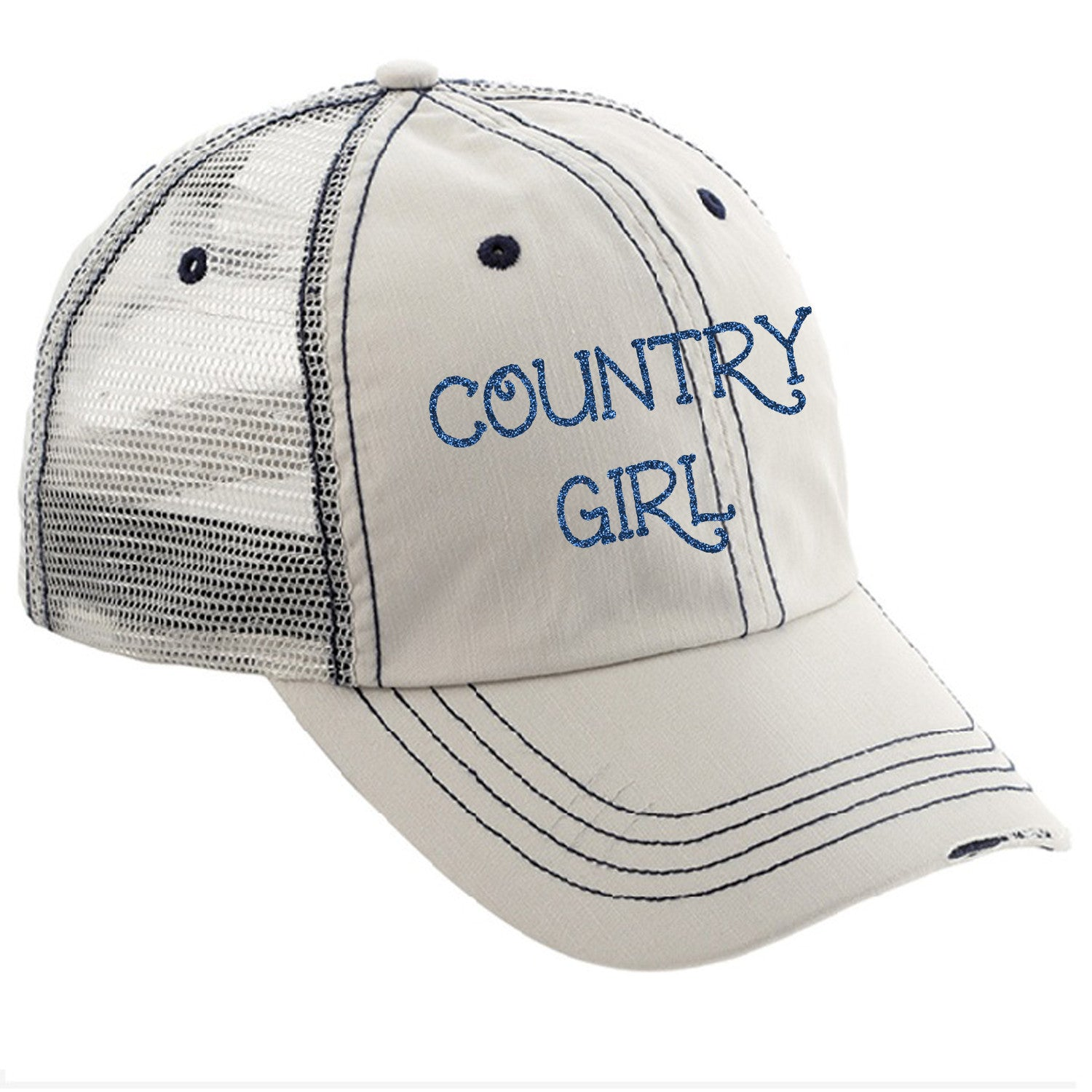 Country Girl Distressed Ladies Trucker Hat – A Dena Accents b661343c760
