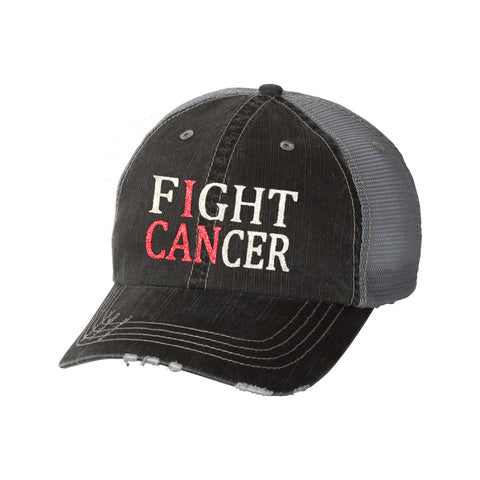 Fight Cancer Distressed Ladies Trucker Hat