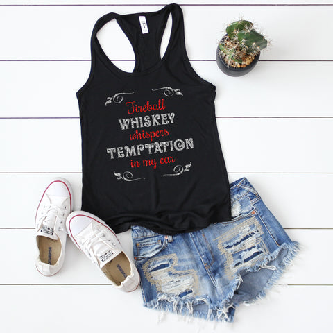 Fireball Whiskey Glitter Tank