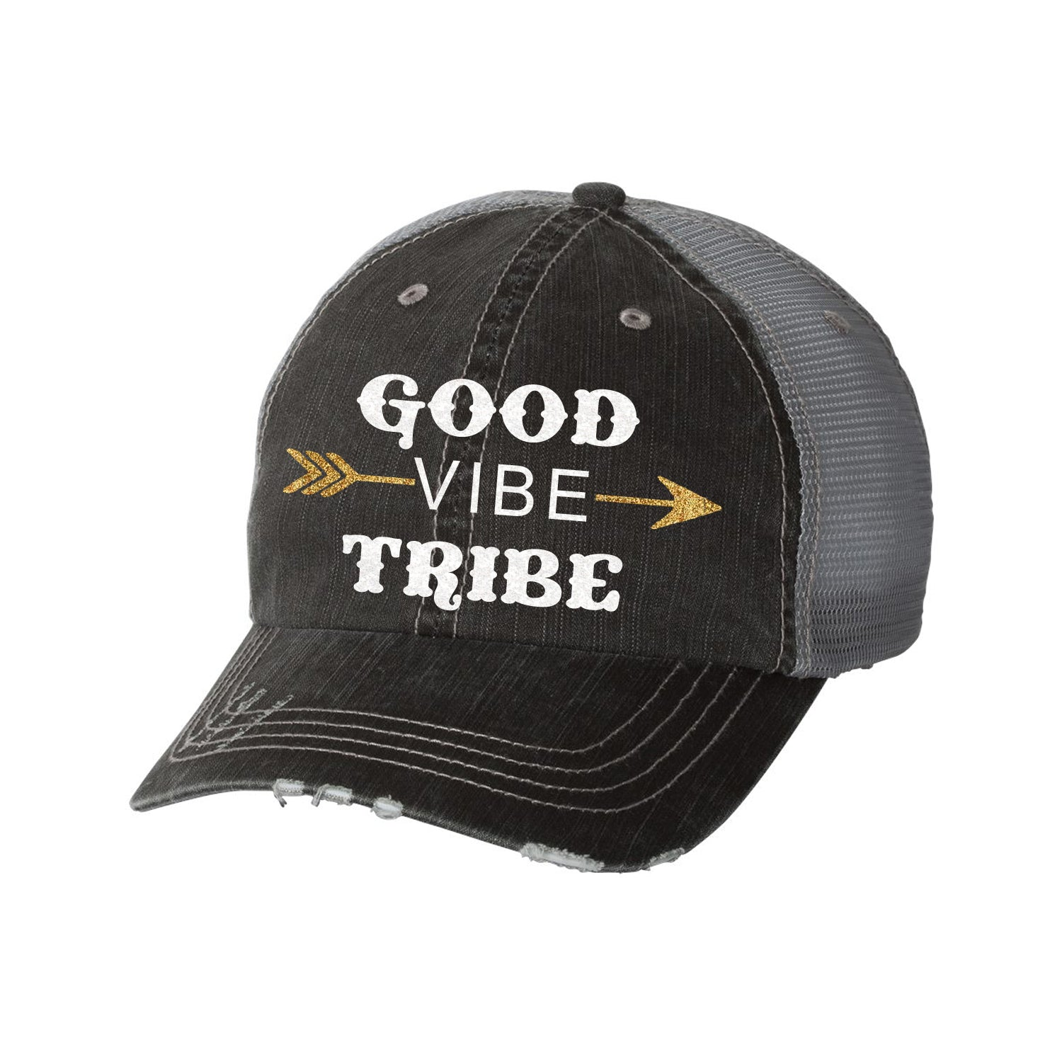 Good Vibes Tribe Distressed Ladies Trucker Hat