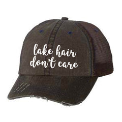 Lake Hair Don't Care Distressed Ladies Trucker Hat