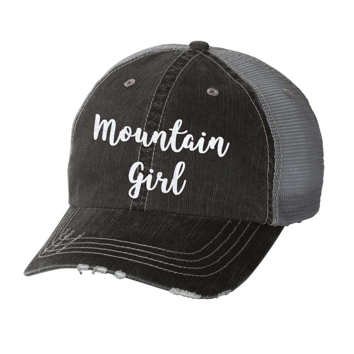 6d3aa35f0d0c14 Mountain Girl Distressed Ladies Trucker Hat – A'Dena Accents