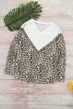 Load image into Gallery viewer, Leopard Colorblock V Neck Sweatshirt