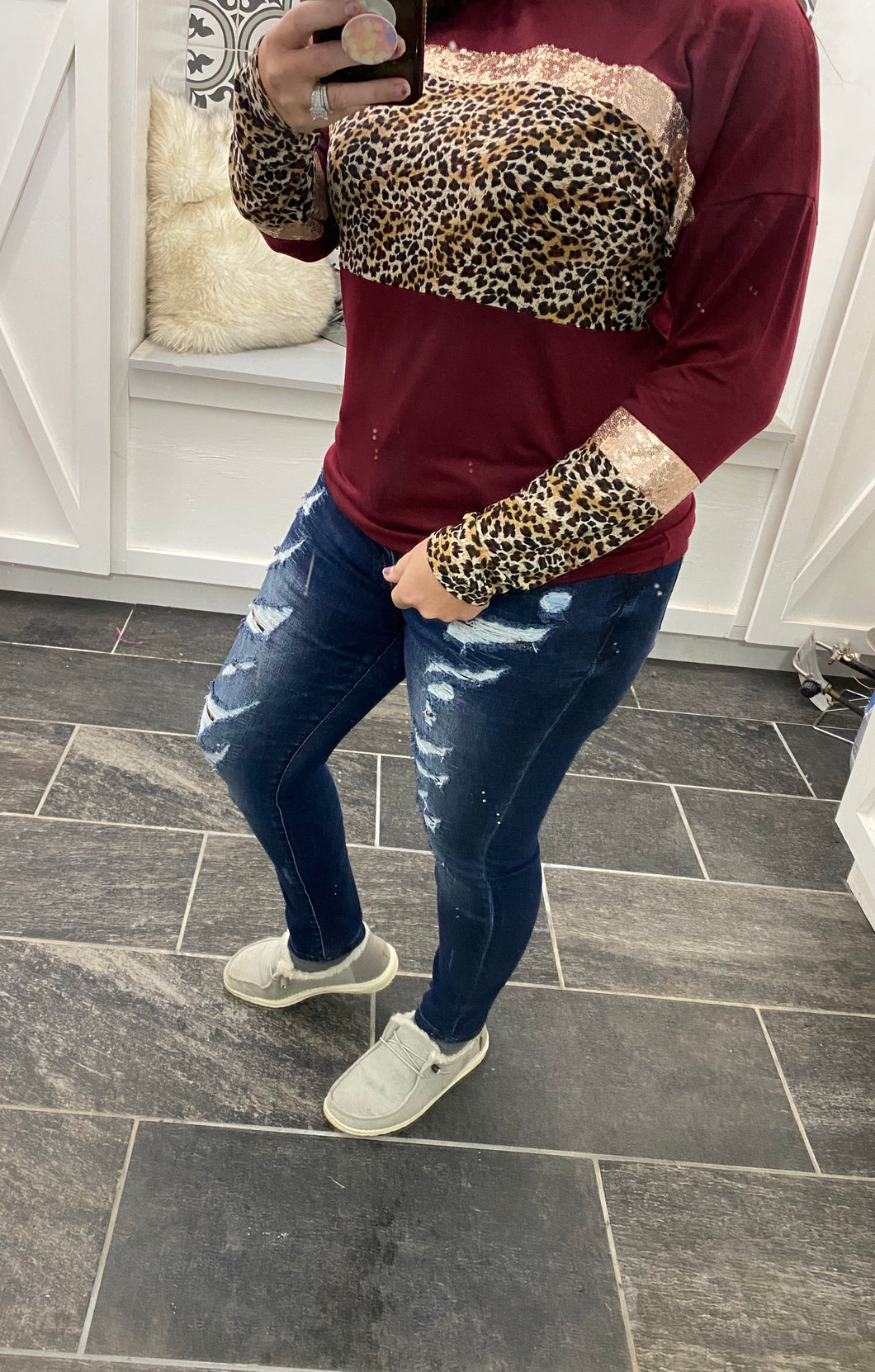 Maroon Leopard & Sequins Long Sleeve Top