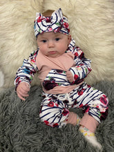 Load image into Gallery viewer, Girls Floral Jumpsuit & Headband Set