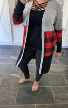 Load image into Gallery viewer, Buffalo Plaid Cardigan With Pockets