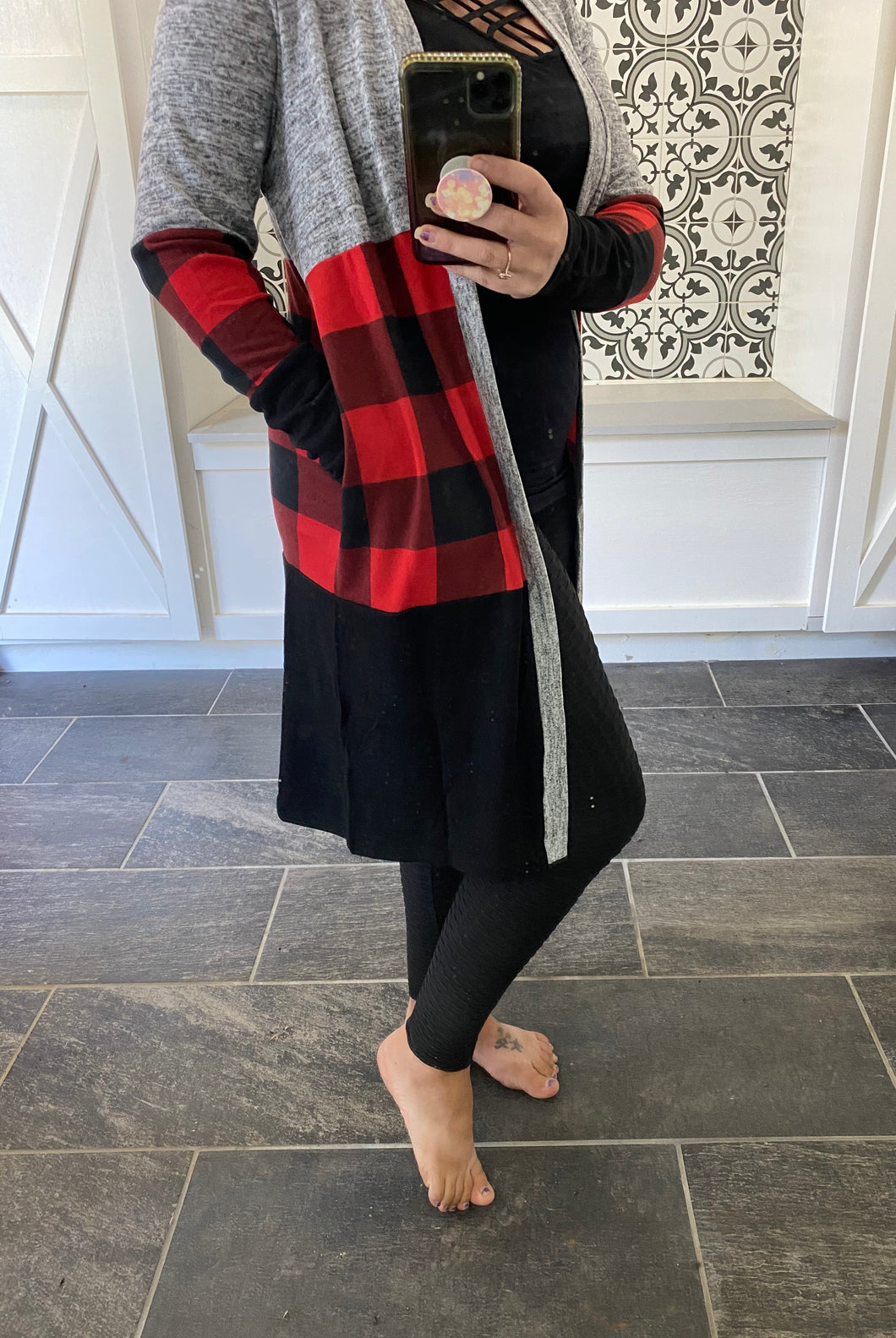 Buffalo Plaid Cardigan With Pockets