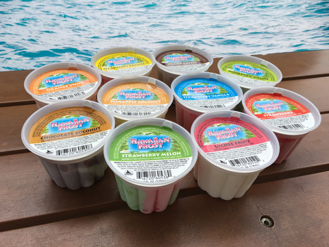 4 oz cups of Samurai Brand Hawaiian Frost Frozen Dairy Treats in cups on a wood bench next to the ocean. Flavors shown are Strawberry Melon, Lychee Fruit, Strawberry, Strawberry Vanilla, Pineapple Coconut, Chocolate Coconut, Orange Swirl, Strawberry Banana, Island Coffee, and Honeydew Melon.