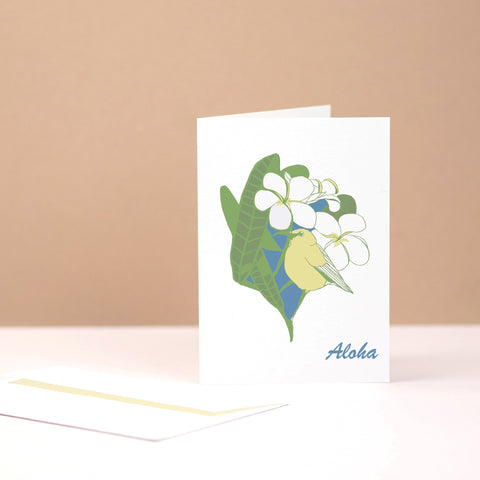 ʻAmakihi (Hawaiian Honeycreeper) on Plumeria Branch - Stationery Card (individually sold)
