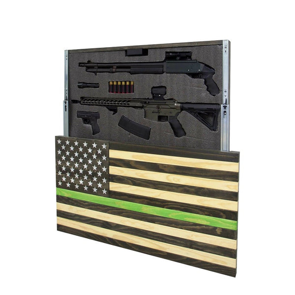 AMERICAN FLAG CONCEALMENT CABINET - GREEN LINE