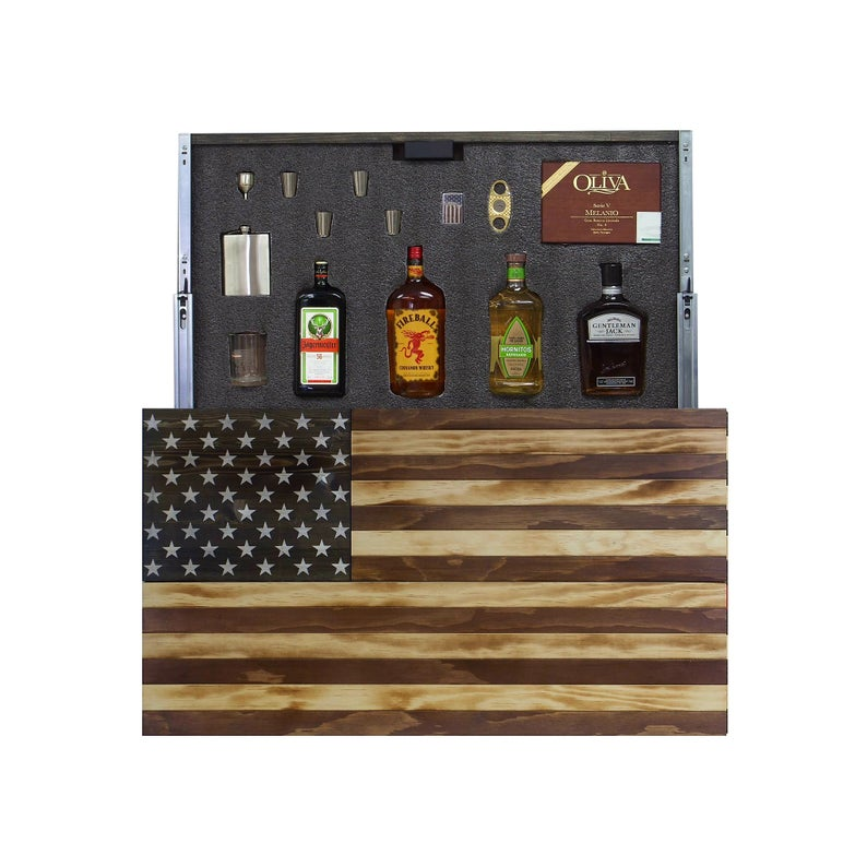 AMERICAN FLAG CONCEALMENT CABINET - TORCHED RUSTIS AMERICAN